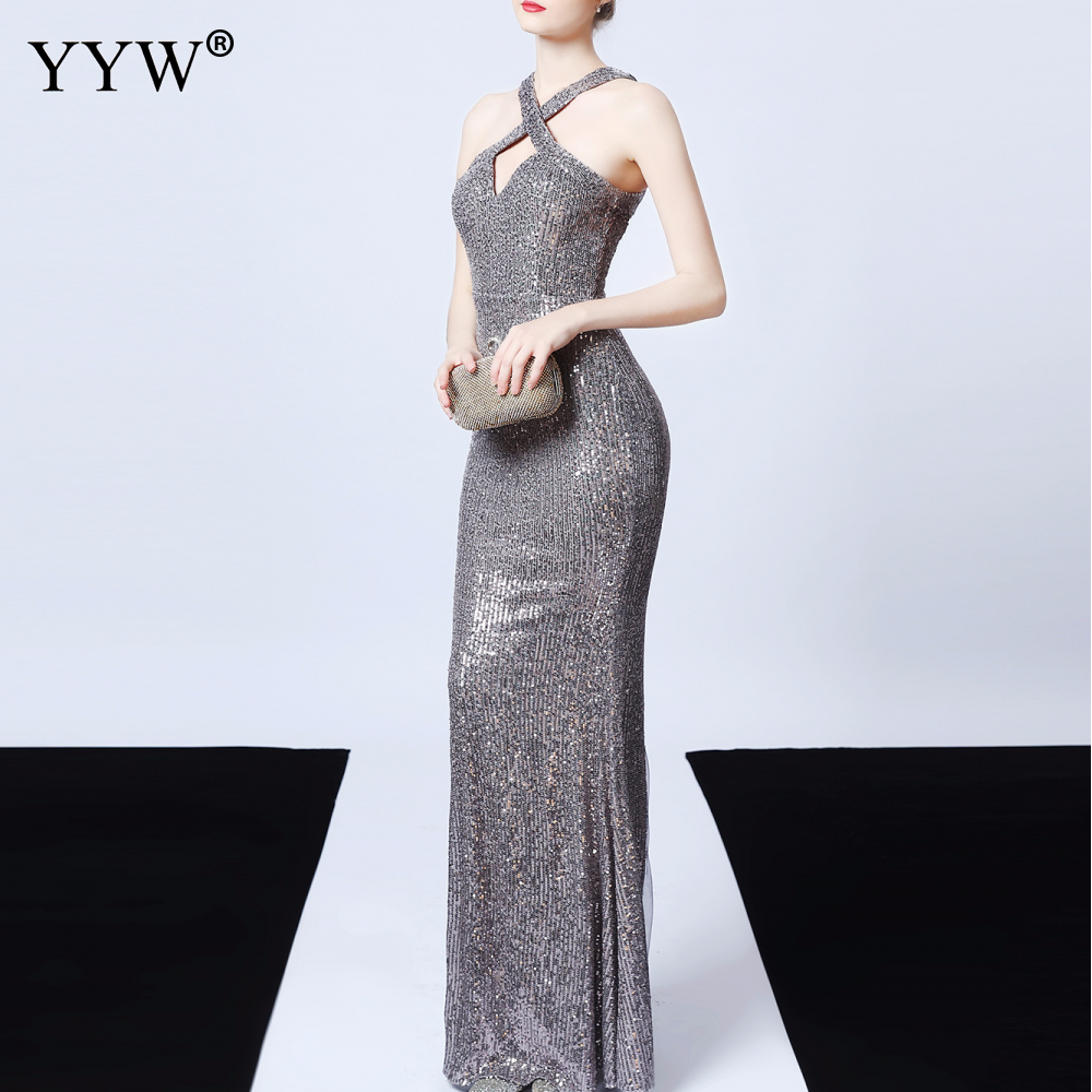 Women Sequined Evening Dress 2020 Backless Halter Long Mermaid Dress Deep V Sexy Robe De Soiree Ladies Elegant Maxi Party Dress