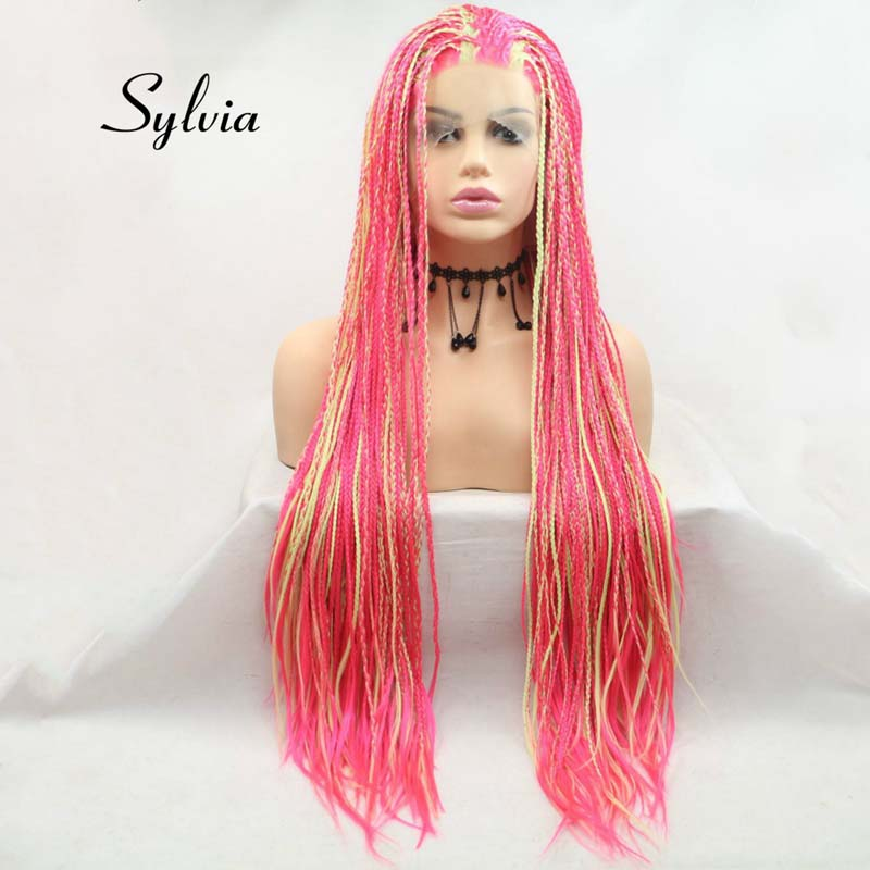 Sylvia Yellow/Pink Mixed Color Long Braid Synthetic Lace Front Wigs For Women Hair Heat Resistant Fiber Braid Wigs