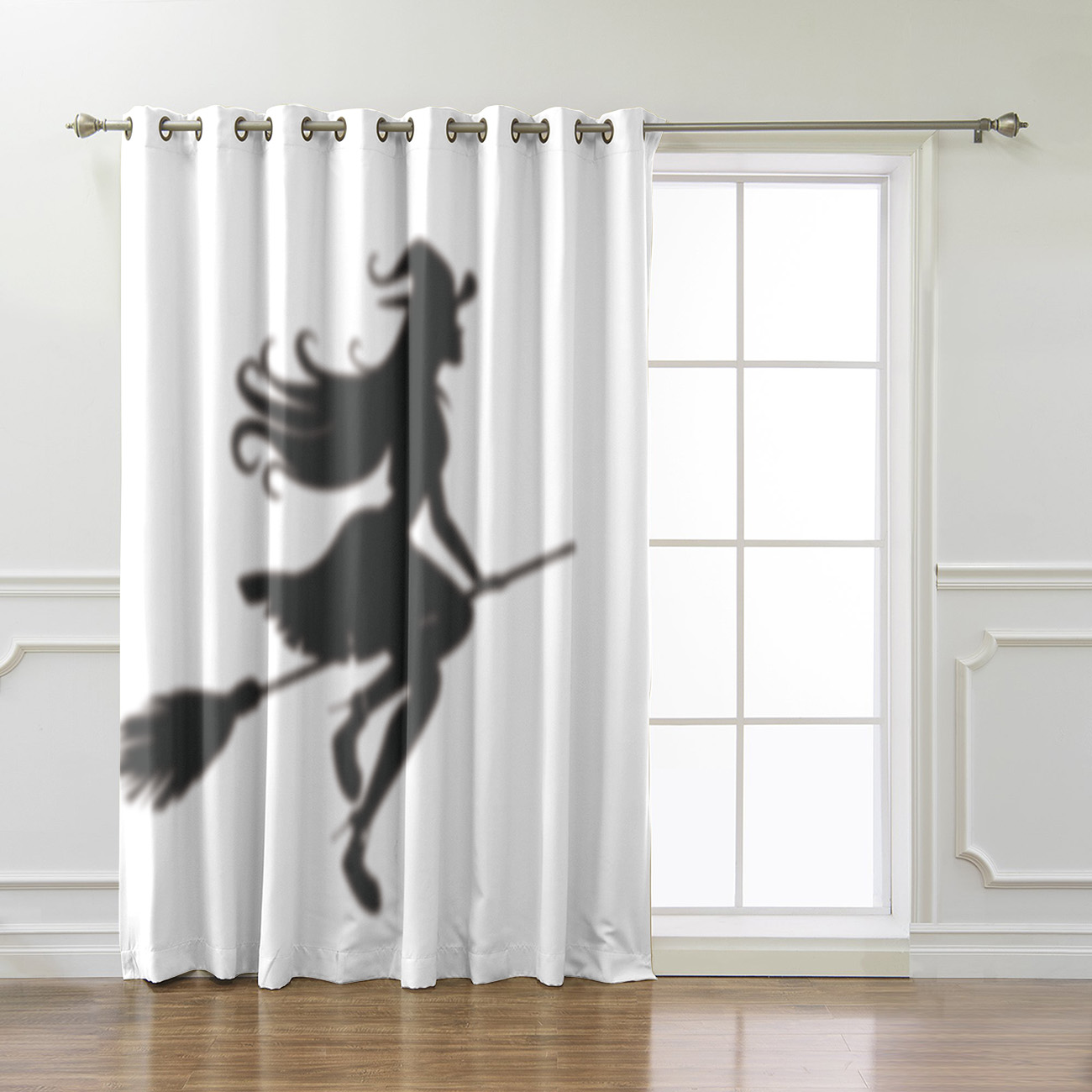 Halloween Style Sexy Witch Silhouette Room Curtains Large Window Window Curtains Dark Window Blinds Living Room Bathroom Curtain
