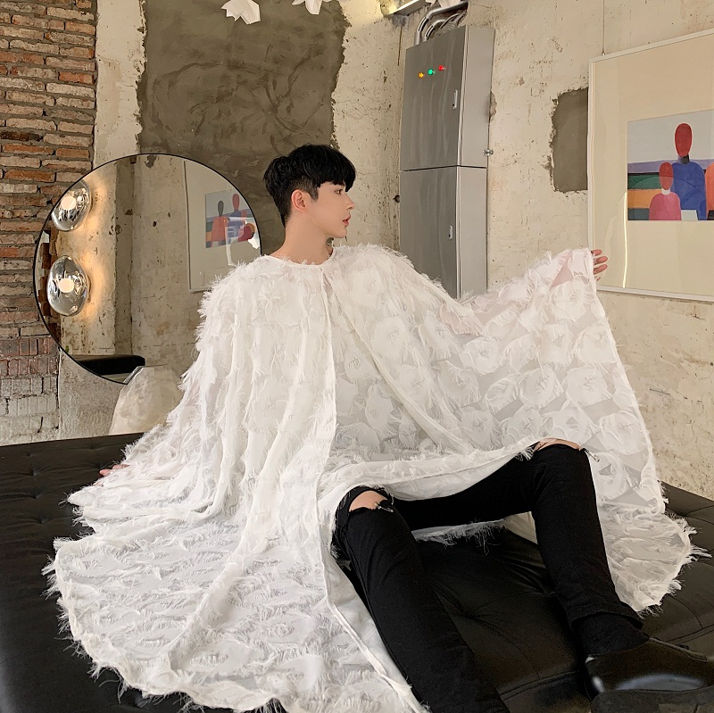 Male Women Streetwear Gothic Dress Shirt Stage Fashion Show Clothing Men Oversize Bat Long Sleeve Pullover Shawl Cloak Shirt