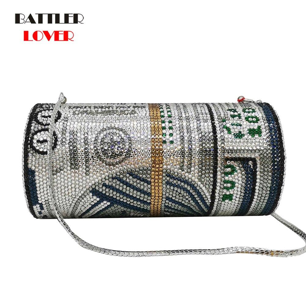 New Crystal Money USD Bags Diamond Evening Bags Party Purse Clutch Bags Wedding Dinner Purses and Handbags Dollar Design Luxury