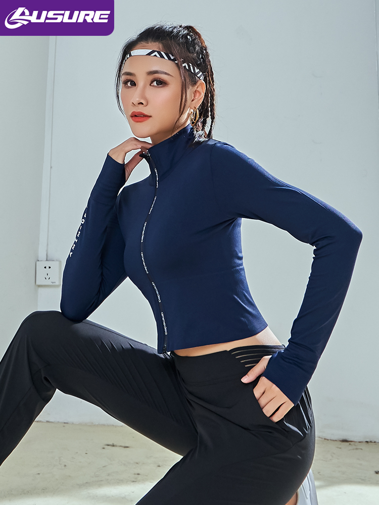Lusure Sports Jacket Women/'s Short Skinny Jacket Long Sleeve Fitness Top Running Quick-drying Yoga Wear Spring