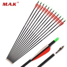 12/24/36pcs Bow Carbon-Arrow Archery-Shooting Compound/recurve Spine US for 28/30/32-inches
