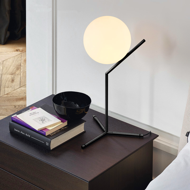 Simple creative glass ball table lamps for bedroom
