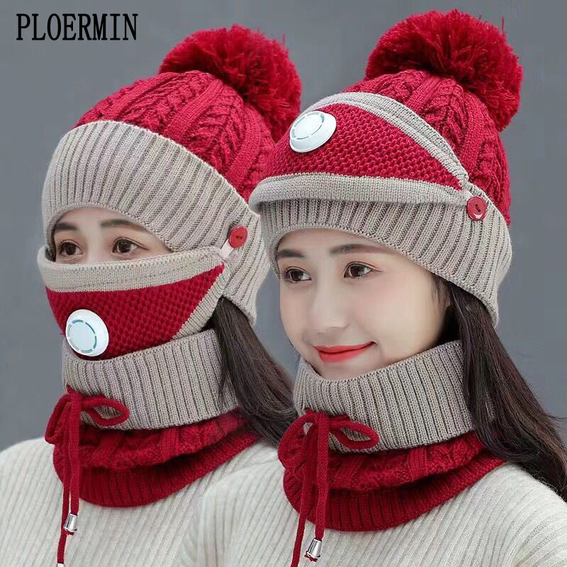 2019 New 3 Pieces Set Women's Knitted Hat Scarf Caps Neck Warmer Winter Hat For Ladies Girls Skullies Beanies Warm Fleece Caps