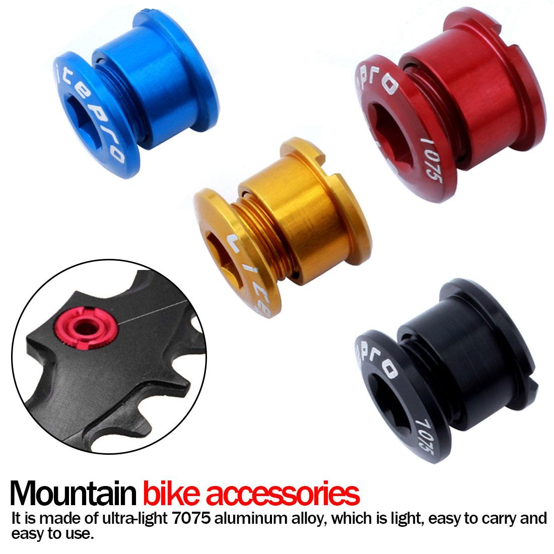 5 × Single Chainring Bolts Bicycle Mountain Bike Crankset Nuts Chainwheel Screws