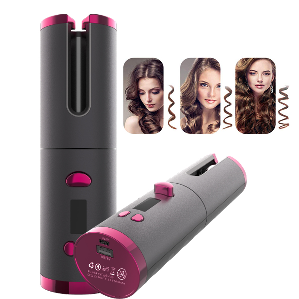 Person - Cordless Automatic Hair Curler iron wireless Curling Iron USB Rechargeable Air Curler for Curls Waves LCD Display Ceramic Curly