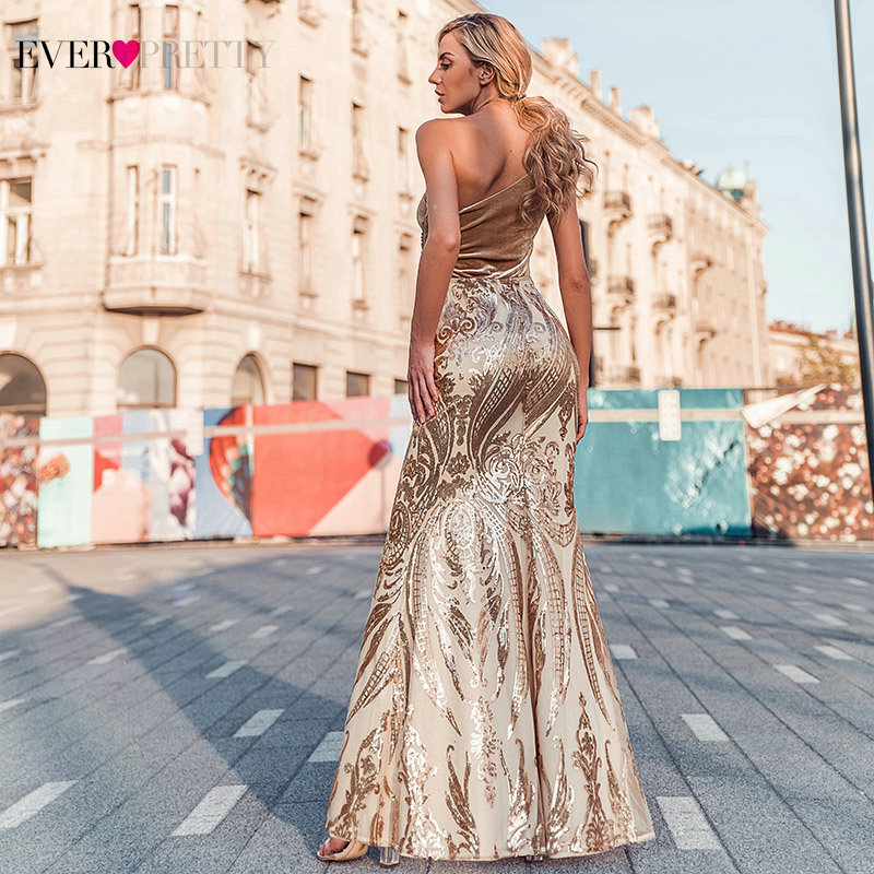 Ever Pretty Rose Gold Prom Dresses Long One Shoulder Sequined Elegant Formal Party Gowns Sexy Mermaid Dresses Gala Jurken 2020