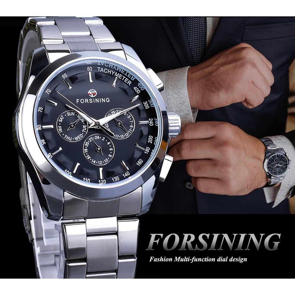 Forsining Black Men's Mechanical Watch 3 Dial Calendar Automatic Self-Wind Clock Business Sport Stainless Steel Belts Wristwatch