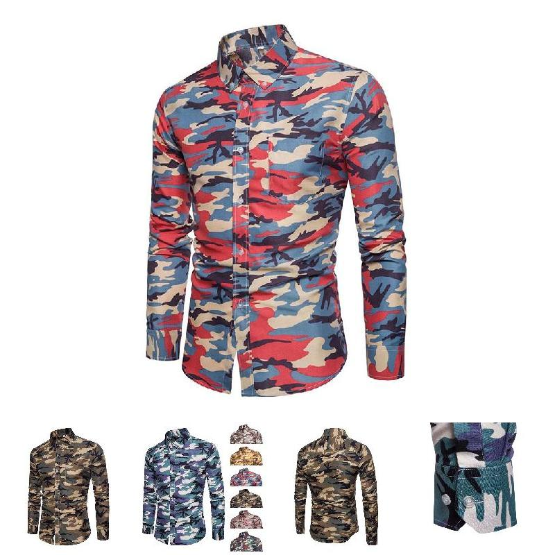 Pop Men Shirt Lapel Long Sleeve Camouflage Printing Casual Front Button For Business Party Pop 88