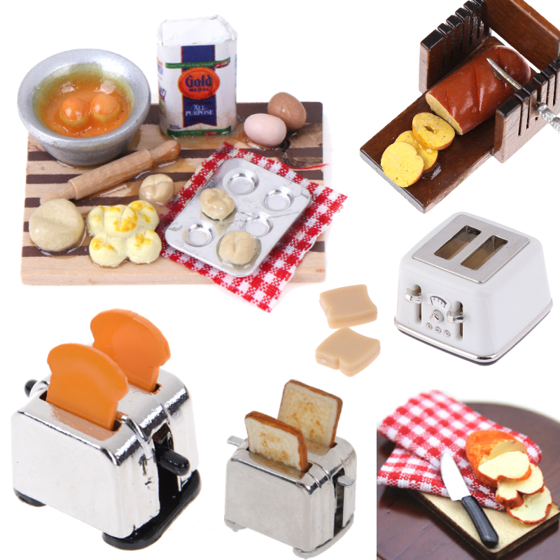 Dollhouse miniature food bread with basket kitchen decoration  pretend play ODS*