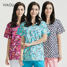 Scrubs Tops Spa-Uniforms Workwear Beauty Salon Wonder Women Lab Pet-Club Printing Wholesale