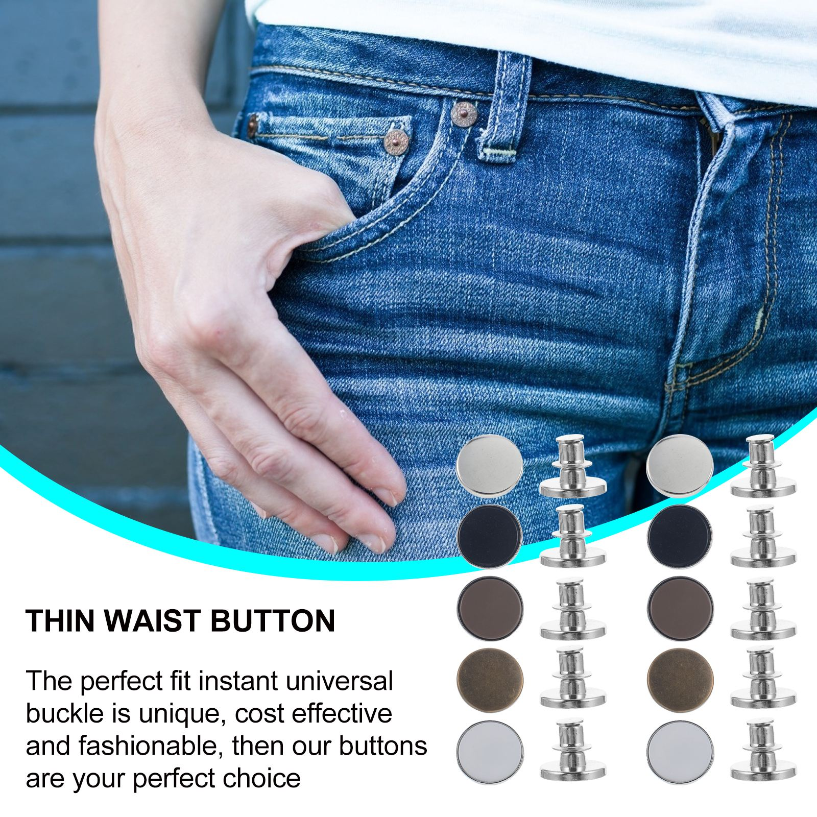 10pcs Waist Button Jeans Pants Fit Button Instant Replacement Jeans Buckles