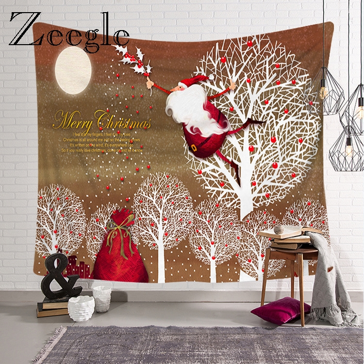 Zeegle Fashion Christmas Wall Hanging Carpet Travel Mattress Bedside Yoga Mat Hippie Tapestry Christmas Wall Polyester Tapestry