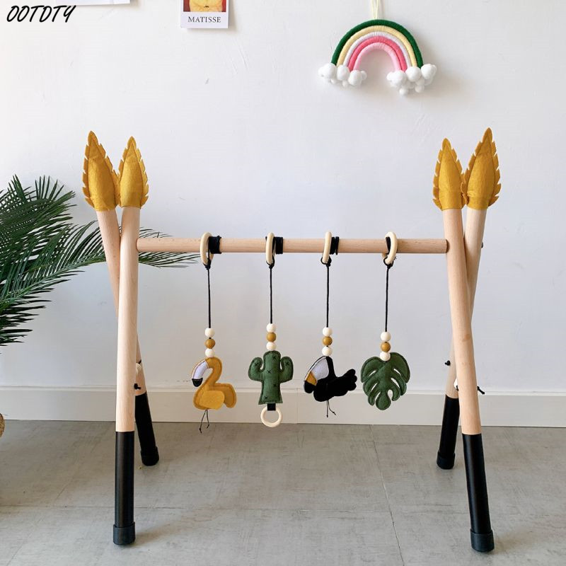 1Set Nordic Style Baby Gym Play Nursery Sensory Ring-pull Toy Wooden Frame Infant Room Toddler Baby Toy Rack Gift Kids Room 0-3M