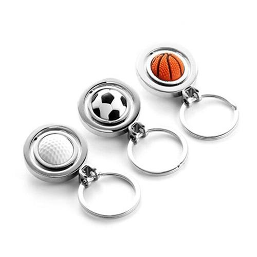 Mini 3D Sports Rotating Alloy Basketball Keychain Football Keyring Golf Key Ring Key Fob Ball Gifts Jewelry for Women Men