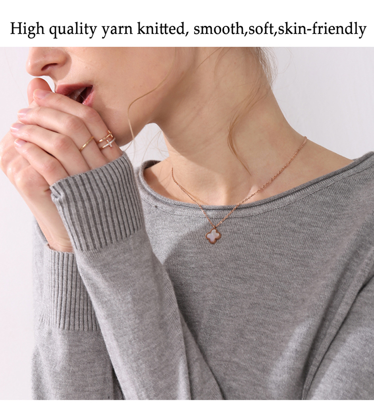 Women knitting sweater long sleeves curled O-neck collar female Short Casual Solid fashion thin pullover Ladies winter sweaters 3