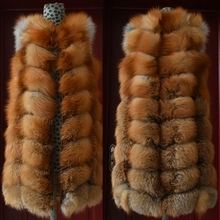 Vest Natural Winter Long Women Real Waistcoat Red Fur Fox-Fur Female