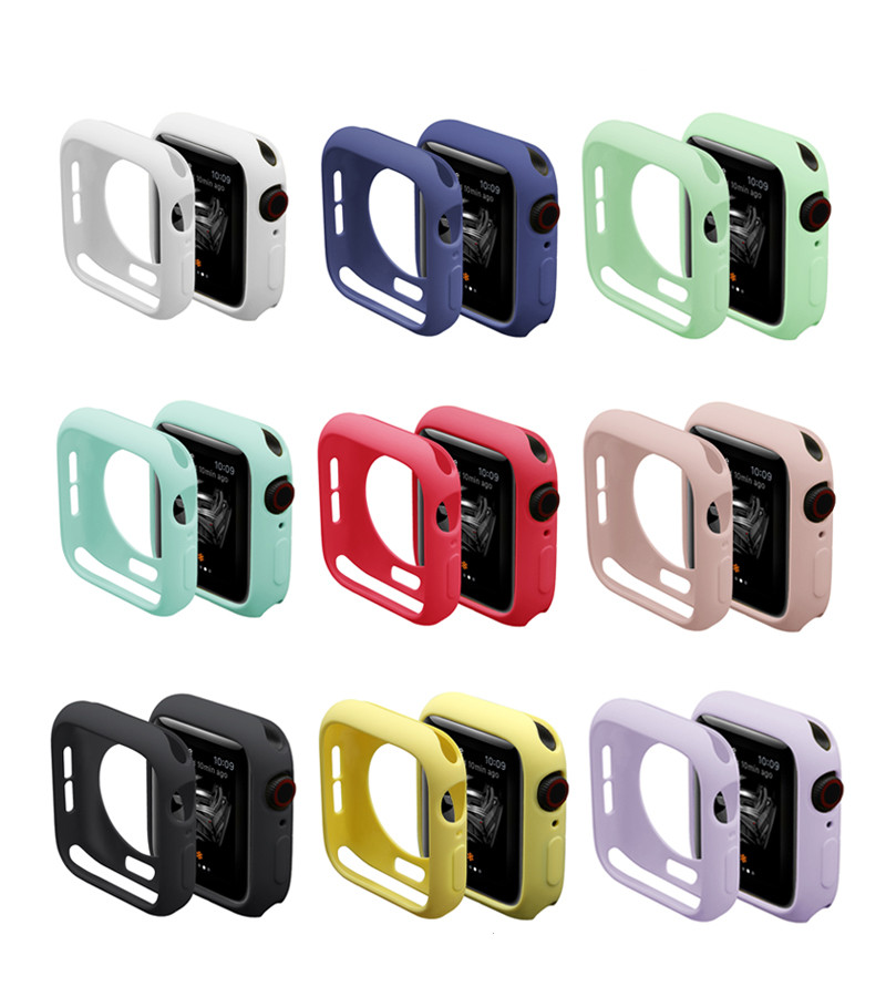 Watch Cover Case for Apple Watch 6/5/4/3/2/1 40mm 44mm Scratch pinkycolor colorful soft cases For iWatch Series 3 2 42mm 38mm