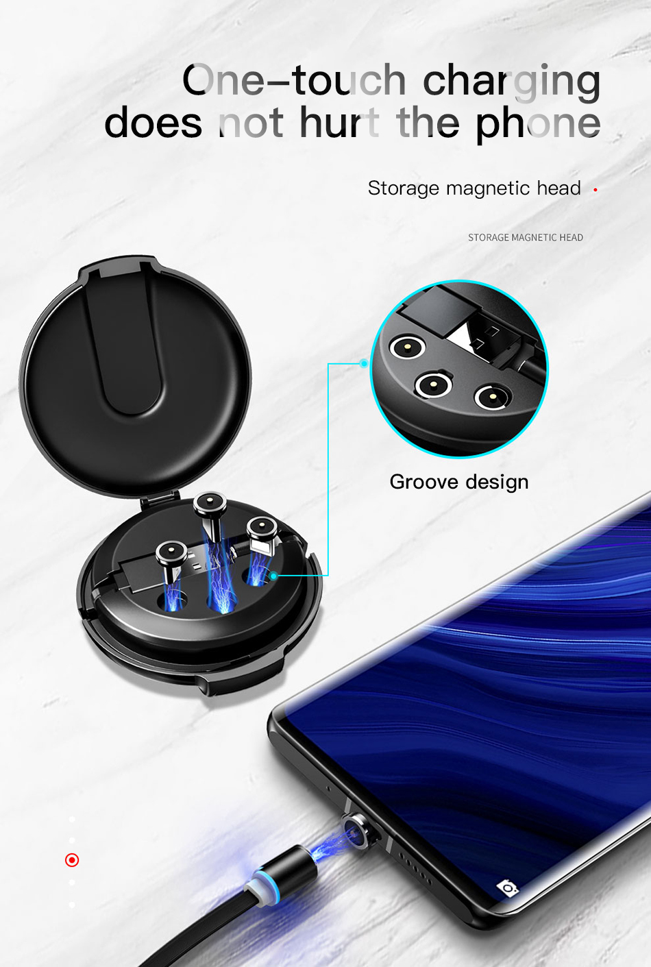 ACCEZZ 3合1磁性电缆,带整理盒,适用于iPhone XS XR 11 Pro Max Micro Micro USB Type C磁铁充电器电缆(4)
