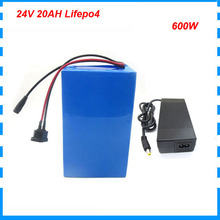 500W 24V 20AH Lifepo4 Ebike battery 24 V 8S Electric Scooter Bicycle battery pack 26650 CELL with 30A BMS 29.2V 2A Charger