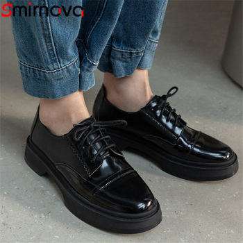 Smirnova 2021 Genuine Leather Single Shoes Women Pumps Round Toe Spring Autumn Casual Shoes Comfortable Fashion Ladies Shoes