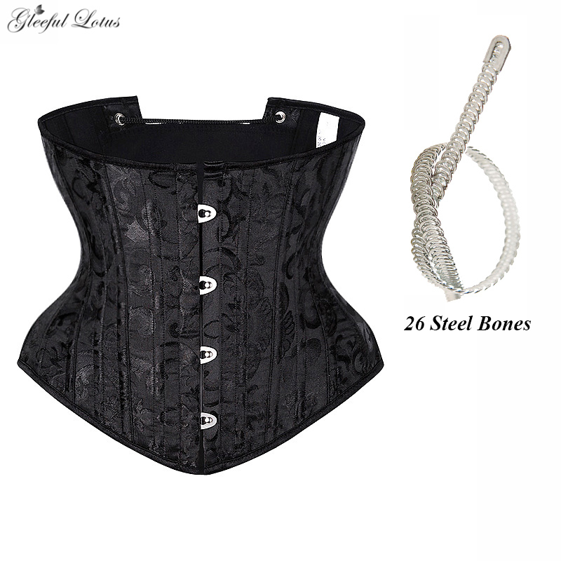 Underbust Corset Sexy Gothic Busiter Steel Boned Waist Trainer Short Torso Women Slimming Sheath Girdle Waist Cincher Lace Up