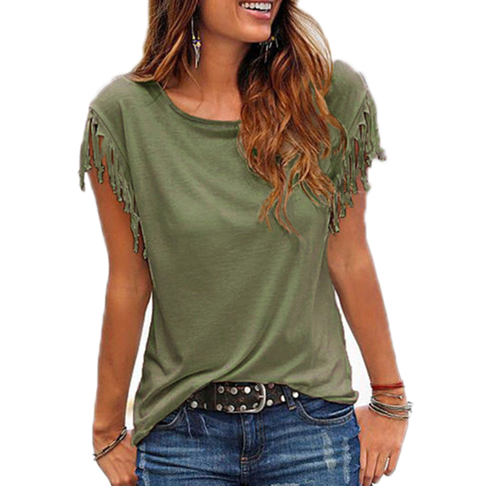 Women-Cotton-Tassel-Casual-Blouses-Short-sleeved-Solid-Color-Shirts-Top-Short-Sleeve-O-neck-Women