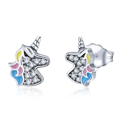 WOSTU 925 Sterling Silver Dazzling Unicorn Licorne Stud Earrings for Women Girl Cute Silver Clear CZ Jewelry Party Gift CQE426