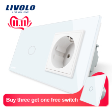 Livolo Wall-Socket Light-Switch Glass-Panel White Standard with 220--250v 16A Crystal
