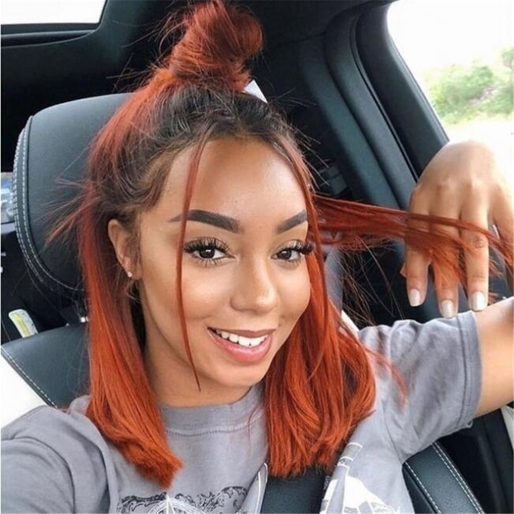 Wigs Hair Hair-Glueless Ginger Orange Full-Lace Women Straight with Baby Brazilian Remy title=