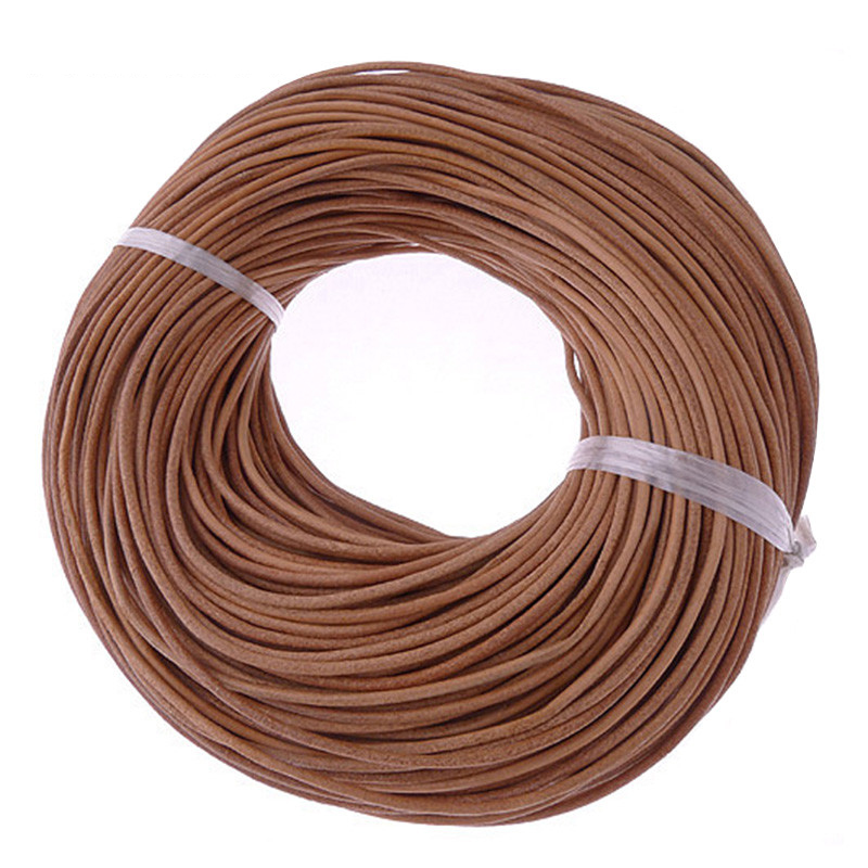 10Meter 2mm Natural Color Real Genuine Leather Cord Round Rope String for DIY Necklace title=