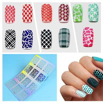 ZKO 12 Tips/Sheet Laser Nails Vinyls Nail Art Nails Stencil Nail Art Hollow Stickers Decoration Tools Accessories