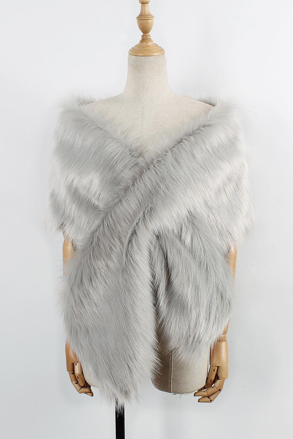 The autumn and winter new imitation fur big cape neck scarf multi-color joker scarf bride dress cross cape (14)
