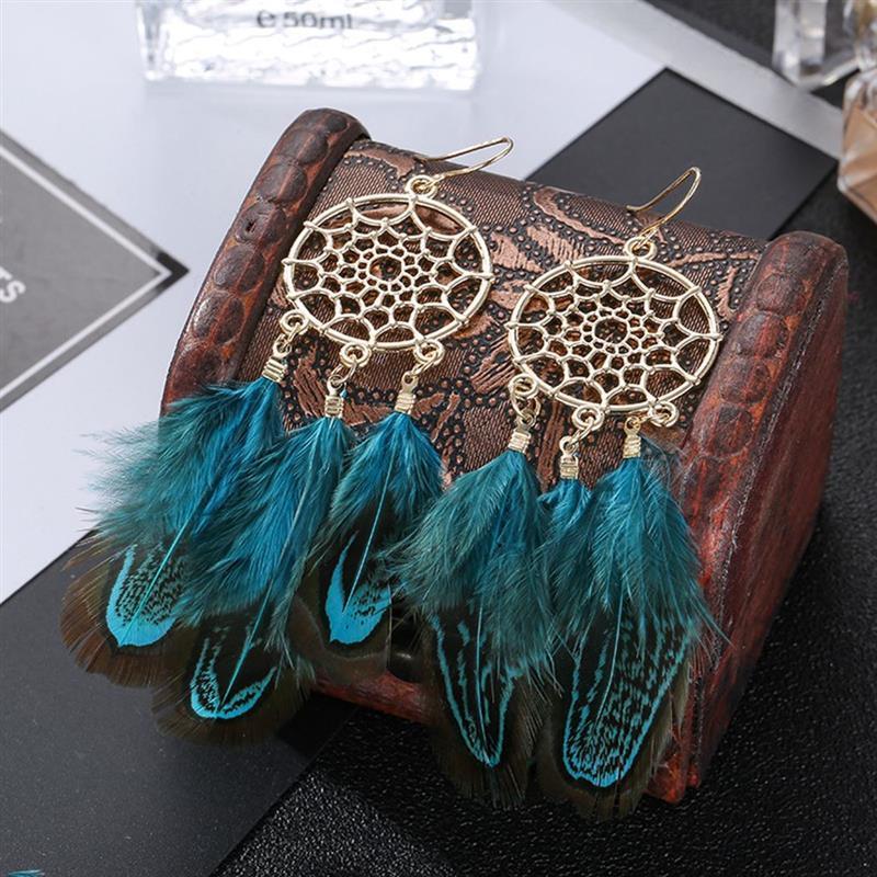 Boucles d'Oreilles Attrape Rêves à Plumes Bleu femme bijoux bohème chic mode style