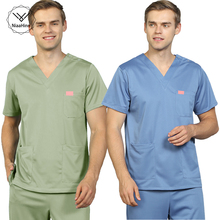 Scrubs Pants Uniforms Lab-Coat Beauty Salon Women Clothing Frosted Unisex Tops Solid-Color
