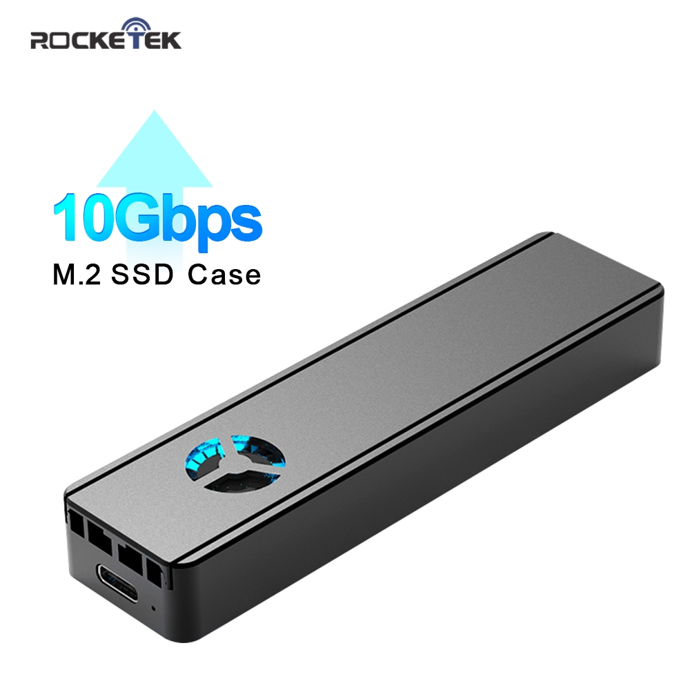 Rocketek M2 SSD Case NVME Enclosure Built-in cooling fan M.2 to USB Type C 3.1 Adapter for NGFF PCIE M Key/B&M Key Disk Box title=
