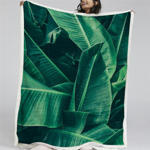 BlessLiving Green Leaf Throw Blanket Leaves Texture Sherpa Blanket for Adult Kids Tropical Palm Foliage Plush Blanket Bedding(China)