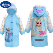 Raincoat Poncho Frozen Girl Children Disney Elsa Cartoon with A-Bag Cute Princess Kids