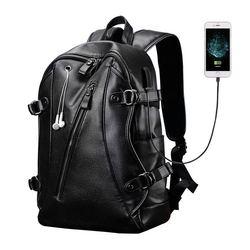 LIELANG Men Backpack External USB Charge Waterproof  Backpack Fashion PU Leather Travel Bag Casual School Bag leather bookbag