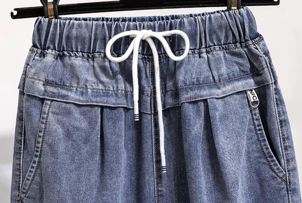 2020 spring High Waist Drawstring Jeans Female Casual loose Denim Harem Pants Spring Autumn Ankle Length Jeans plus size r141