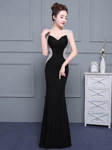 Party-Gown Evening-Dresses Satin Mermaid Backless Zipper Sex Black Elegant Yiiya V-Neck