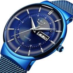 2019 новые синие кварцевые часы LIGE мужские часы Лидирующий бренд Роскошные часы для мужчин простые стальные водонепроницаемые наручные часы ...