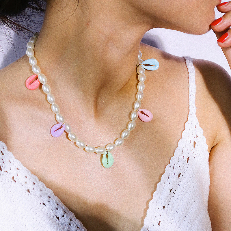 Bohemian Fashion Handmade Multicolor Shell Necklace Knot Pearl Necklace For Women New Design Jewelry