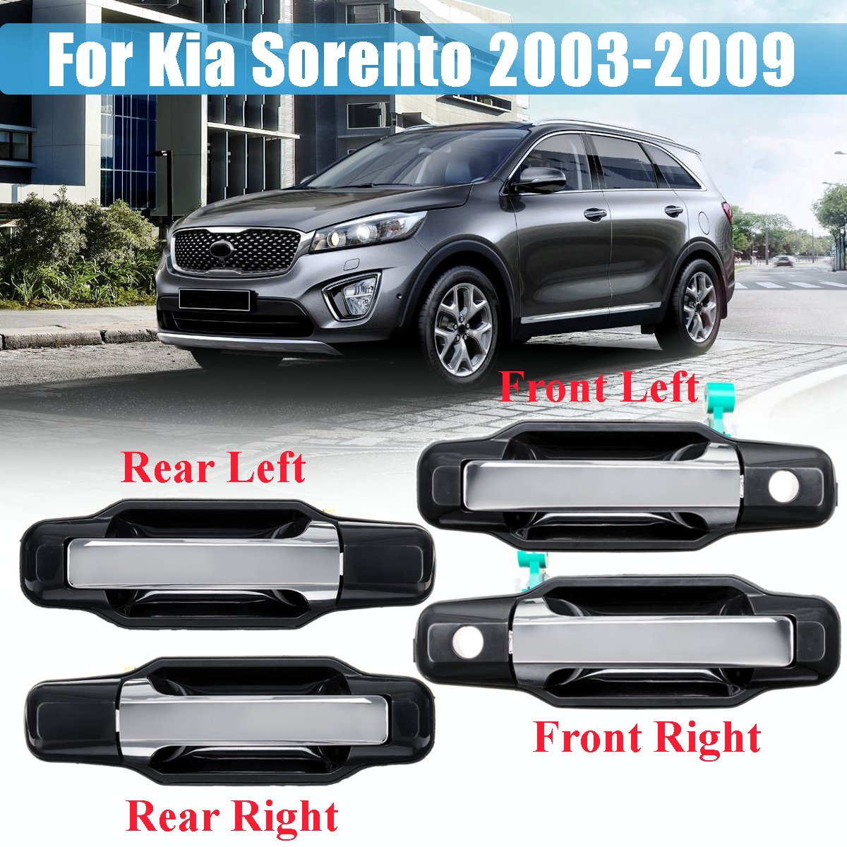 Outside Exterior Outer Door Handle Primed Chrome for Kia Optima Rear Left=Right