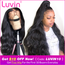 Luvin Frontal Wigs Baby Hair Human-Hair-250-Density Body-Wave Pre-Plucked 13x6 30inch