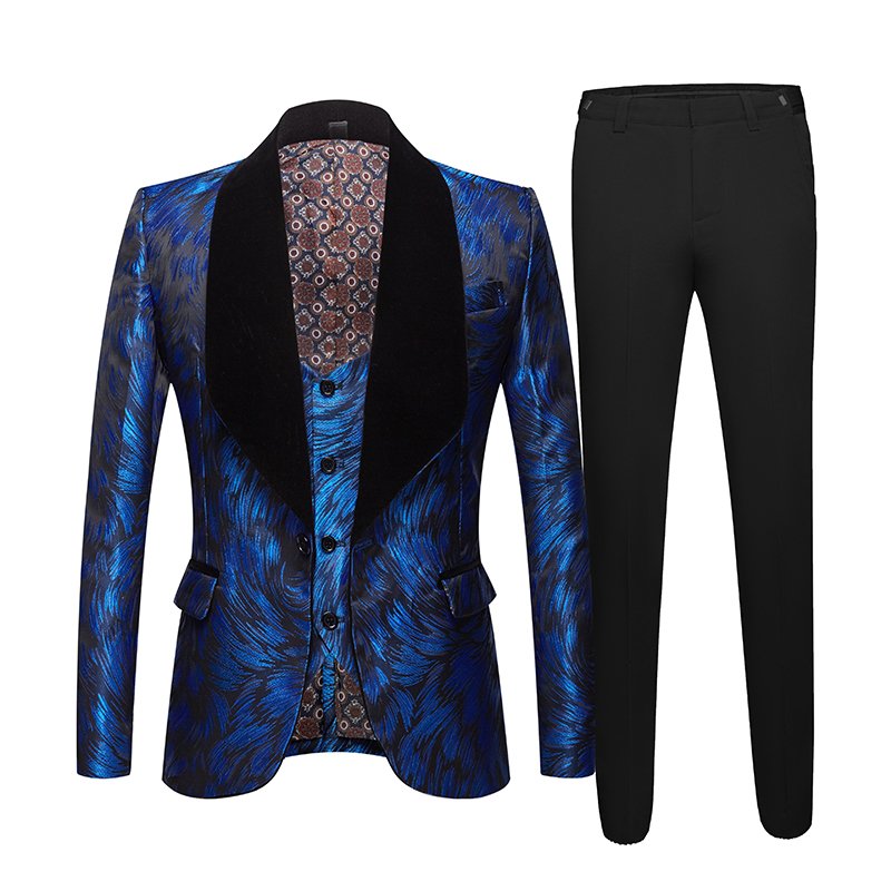 Mens Fashion Big Shawl Lapel 3 Pieces Set Pink Red Blue White Black Wedding Groom Suits Quality Jacquard Banquet Tuxedo title=