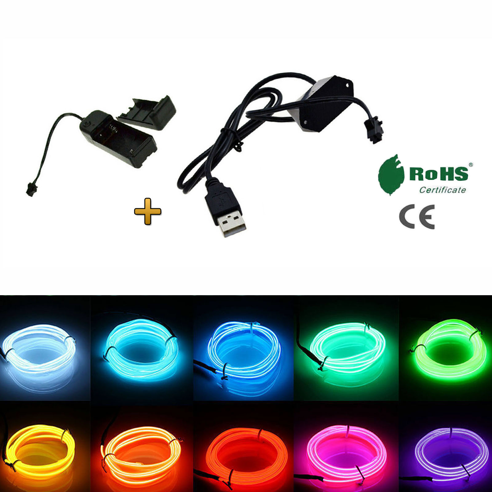 2m 5m EL Wire Tape Glowing Neon Light Strip With Power Driver Car Party Decor 3