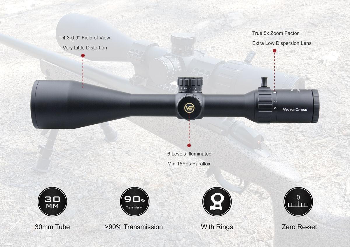 GenII Paragon 5-25x56 Tactical Riflescope 1//10MIL 90/% Light 2KM Long Range .338