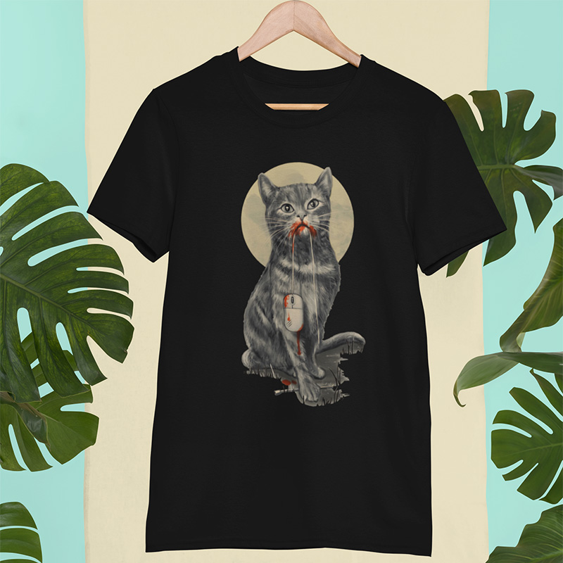 EU Size 100% Cotton Cat Digital Print T Shirt Summer New Arrival Short Sleeve Male Tshirt Homme EU Size